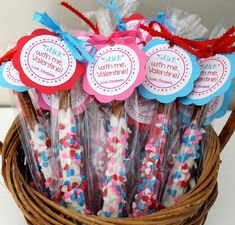 "Valentine's Day tags - ""Stick with me Valentine!"" chocolate covered pretzels"