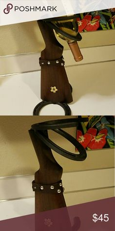 Gun Stock and horseshoe wine bottle display Gun Stock and horseshoe wine bottle display Spoon Me Baby Designs  Other