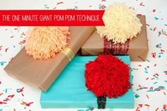 The 60 Second Giant Pom Pom Technique #giftwrapping #pompom #DIY #yarn
