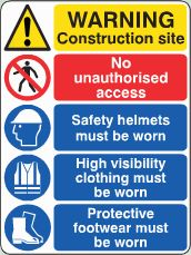 Construction Site Notice image Construction Signs, Site Sign, Sign Image, Safety Helmet, Sign Printing, Warning Signs, Health And Safety, Assessment, At Least