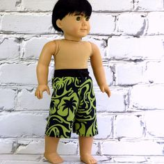 Boy Doll Swimsuit Swim Trunks Board Shorts  by SewFunDollClothes, $8.00