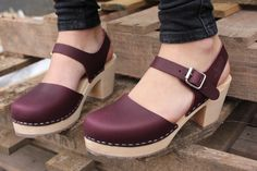 7e1acb6c74741 Swedish Clogs Low Wood Aubergine Leather by Lotta from Stockholm   Wooden  Clogs   Sandals   Low Heel   Mary Jane Shoes