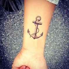 Pretty traditional anchor tattoo on hand