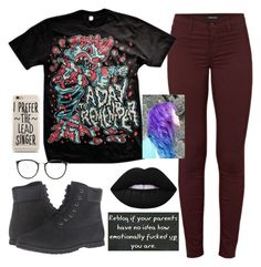 """I'm bad at titles"" by jayceepanda on Polyvore featuring J Brand, Timberland, Lime Crime, Linda Farrow and Capelli New York"