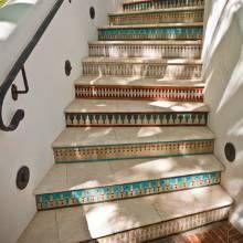 Moroccan zellig tiles line this stairway