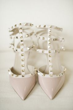 Valentino strappy nude blush colored bridal wedding shoes