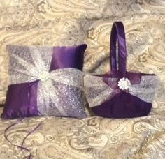 flower girl basket and ring bearer pillow dark purple by irmart, $38.99