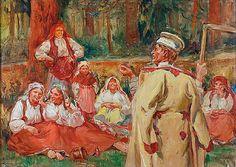 Wincenty WODZINOWSKI (1866-1940)  Odpoczynek żniwiarzy, 1937 olej, płótno dublowane, 50 x 69,5 cm; sygn. l. d.: W. Wodzinowski / Kraków 1937