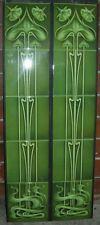 MAGNIFICENT ART NOUVEAU FIREPLACE TILES SET (2 X 5 TILE PANELS)