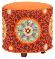 "Gypsy Interior Design Dress My Wagon| Serafini Amelia| Natalie 19"" Round Ottoman, Orange"
