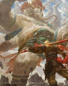 God battle fantasy art Elephant god vs warrior  Creatures from Dreams : Photo