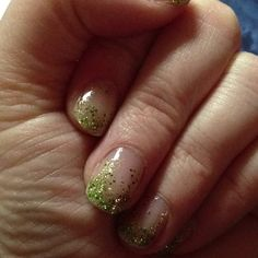 St Patricks Day Nails. Green and Gold glitter thicker at end of nails.