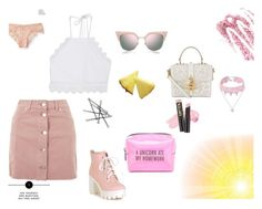 """pink and lace ;)"" by denisahad ❤ liked on Polyvore featuring Topshop, Fendi, Aéropostale, Pinch Provisions, L.A. Girl, Obsessive Compulsive Cosmetics, Design Lab, Front Row Shop and Dolce&Gabbana"