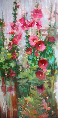 Pink Show, hollyhocks garden art,mary maxam, oil painting Oil Painting Flowers, Watercolor Flowers, Painting & Drawing, Watercolor Paintings, Watercolors, Paintings I Love, Art Paintings, Floral Paintings, Extra Large Wall Art