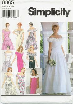 MOMSPatterns Vintage Sewing Patterns - Simplicity 8865 Retro Sewing Pattern BEAUTIFUL Off the Shoulder 2 Piece Wedding Dress, Bridal Gown, Bridesmaid, Mother of the Bride, Party Formals Size Wedding Dress Sewing Patterns, Evening Dress Patterns, Evening Dresses, Designer Wedding Dresses, Bridal Dresses, Prom Dresses, Design Your Own Dress, Patterned Bridesmaid Dresses, Bridesmaids And Mother Of The Bride