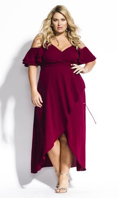 9541dec2702 Shop Women s Plus Size Miss Jessica Maxi Dress - Garnet