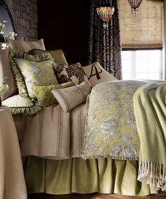 French Laundry Toile Bedding French Laundry Toile Bedding: French Laundry Spring Garden Bedding has a vivid array of textures with brown and sand stripes in a feedsack weave, paired with toile in shades of citrine and brown.