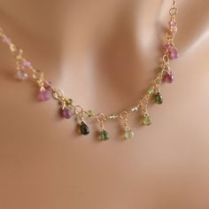 Real Tourmaline Necklace Pink and Green Gemstone Drops Wire
