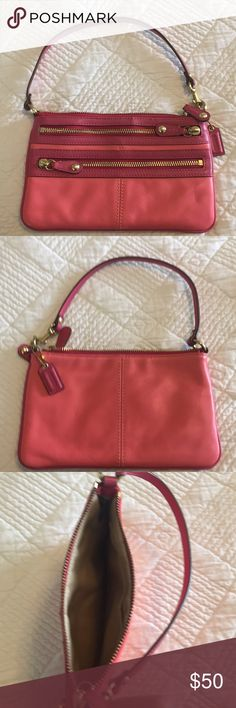 Coach Pink Leather Clutch Never used Clutch. Nothing wrong with it. Super cute!!!! Coach Bags Clutches & Wristlets