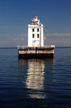 Martin Reef Light is located on north Lake Huron, 4.3 miles from the nearest land.  It is 4.3 miles south of  Cadagon Point in  Clark Township, Michigan--LHF-history