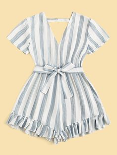 Belt: Yes Color: Multicolor Details: Backless, Belted, Ruffle Hem Fabric: Fabric has no stretch Fit Type: Regular Fit Length: Crop Lining: No C Teen Fashion Outfits, Mode Outfits, Girl Fashion, Girl Outfits, Cute Casual Outfits, Cute Summer Outfits, Cute Summer Rompers, Plus Size Jumpsuit, Lace Romper