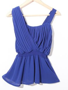 Blue One Shoulder Pleated Chiffon Peplum Blouse - how is it the things i MUST HAVE are sold out :'(