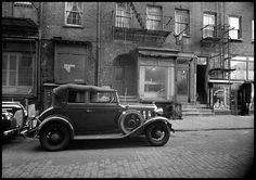 1940s Vintage Gangster Car on New York City Street Photo