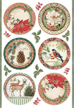 Rice Paper - Winter Botanic Balls - for Decoupage Scrapbook Craft Christmas Tag, Christmas Pictures, Vintage Christmas, Christmas Crafts, Christmas Decorations, Xmas, Christmas Ornaments, Decoupage Vintage, Vintage Diy