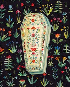 """Interview: Aitch Fuses """"Uneasiness"""" With Florals in Alluring Folk-Inspired Illustration Art And Illustration, Illustrations, Arte Popular, Coffin, Art Inspo, Psychedelic, Folk Art, Watercolor Paintings, Interview"""