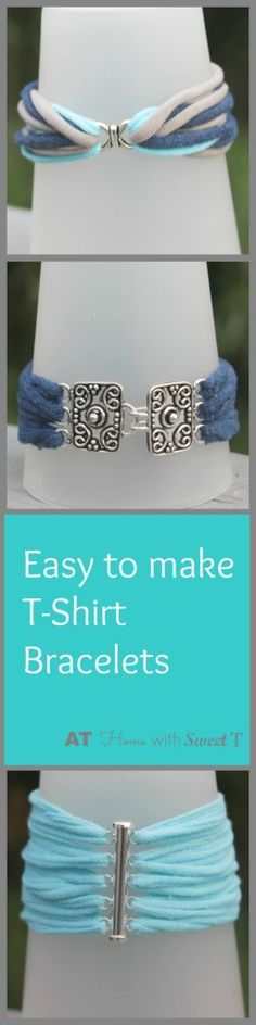 Cute and easy to make t-shirt bracelets. Creative Ramblings | T-shirt bracelets