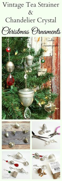Repurposed and upcycled vintage tea strainers and chandelier crystals into rustic farmhouse Christmas ornaments by Sadie Seasongoods / www.sadieseasongoods.com