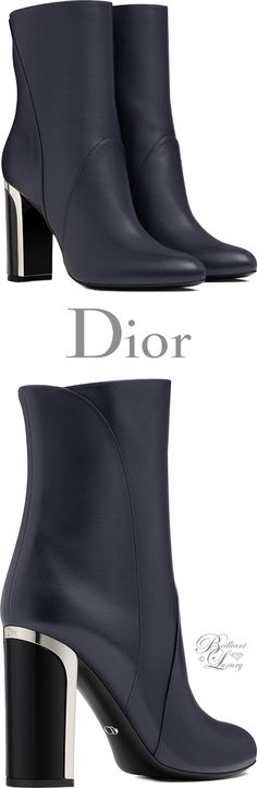 Brilliant Luxury by Emmy DE ♦Dior Navy Blue Calfskin Ankle Boot