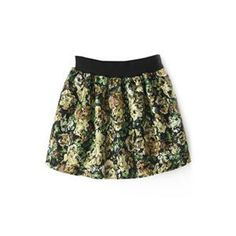 Floral Print Elastic Green Skirt | pariscoming
