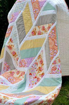 Love this pattern! Quilt Lap throw Quilt - Patchwork Pastel Herringbone Quilt Lola. £120.00, via Etsy.