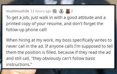 """50 years ago, finding a job might have been as simple as """"being tenacious and not taking no for an answer"""" but that is absolutely not how it works now. #advice #outofdate #wtf"""