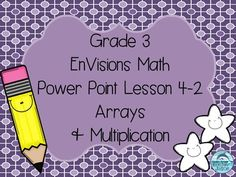 Free! If you teach EnVisions Math for third grade, this power point would be great for Topic 4 Lesson 2. The power point teaches arrays, what they are used for and how to make arrays to solve problems. It is a sample of the EnVisions power point lessons for each topic sold in my store.