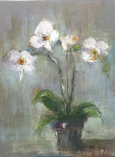 White Orchid by Patricia Gray Pastel ~ 16 x 12 in. Orchid Drawing, Floral Drawing, Pastel Drawing, Oil Painting Flowers, Abstract Flowers, Pastel Artwork, Floral Paintings, Chalk Pastels, Diy Canvas Art