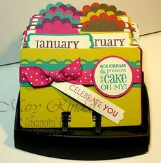 Birthday Calendar Rolodex with address on the card. I NEED to make this!