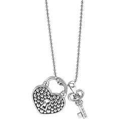 LAGOS Beloved Heart Lock & Key Pendant Necklace (€305) ❤ liked on Polyvore featuring jewelry, necklaces, silver, ball chain necklace, heart pendant necklace, bead necklace, lagos necklace and lock necklace