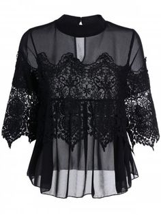 Shop for Black M See Thru Lace Insert Chiffon Top online at $19.97 and discover fashion at RoseGal.com Mobile