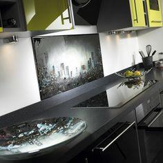 Black Cityscape Fused Glass Splashback | Flickr - Photo Sharing!