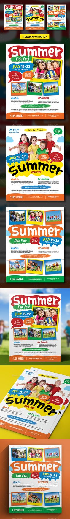 35+ Best Kids #Summer #Camp Flyer Print Templates 2016 Http://Www