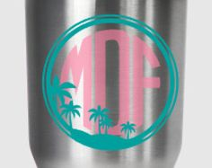 Palm tree beach scene monogram decal, for Yeti®, RTIC, Ozark Trail or other tumbler by PracticallyWhimsy. Explore more products on http://PracticallyWhimsy.etsy.com