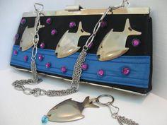 Vintage ReVamped Purse SCHOOL of Fish Glub by LadyFranCreations, $33.00