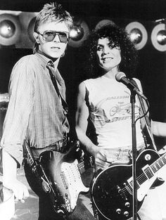"""Two glam rock icons in the shape of David Bowie and Marc Bolan of T-Rex on the """"Marc"""" TV show in 1977"""