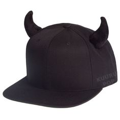Devil Horns Cap Embrace your devilish side with an awesome devil horns snapbackk! These black caps have two soft devil horns positioned on top for an edgy look. - 70% acrylic, 30% wool. - One size fits all - size is adjustable through fastening on back.