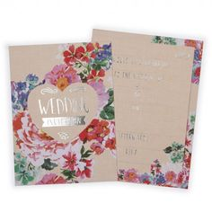 Floral & silver wedding invitations - pack of 10