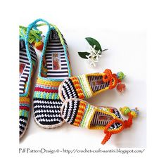 happy scrap shoes - pattern by Ingunn Santini #crochetpattern #crochet #pattern #shoes #summer #summercrochet