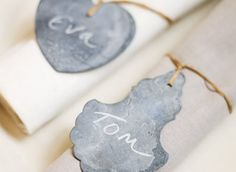 zinc heart and chandelier place tags