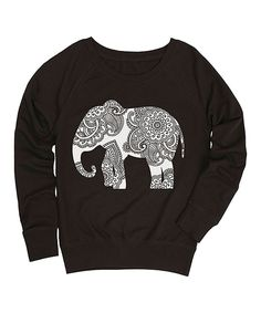 Look what I found on #zulily! Black Henna Elephant Slouchy Pullover by Cotton Jungle #zulilyfinds